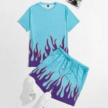 Guys Fire Print Top & Drawstring Waist Shorts Set
