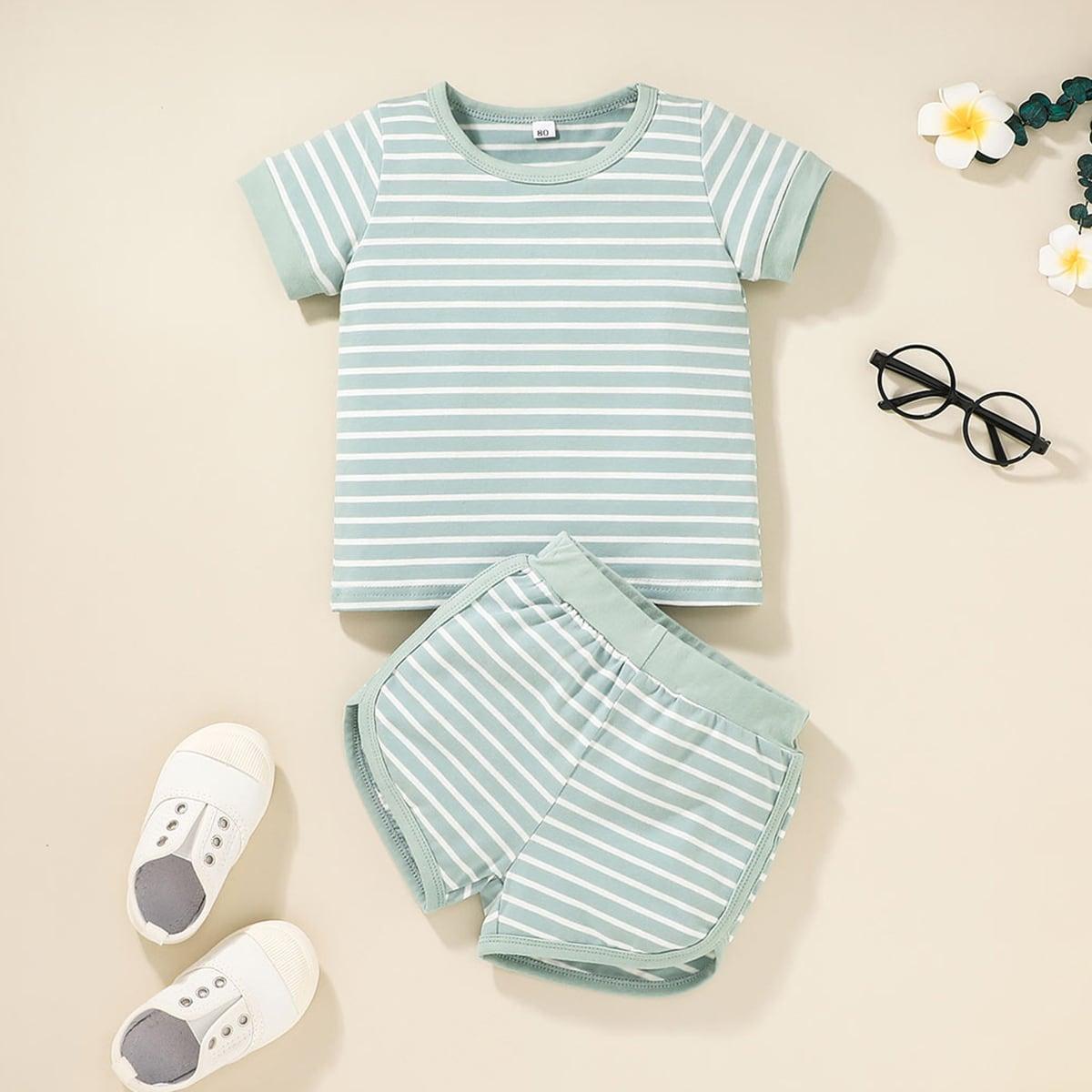 Baby Boy Striped Tee & Shorts