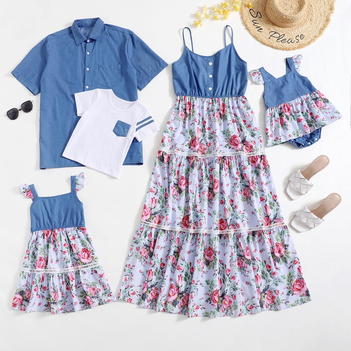 для девочек с цветочным принтом с оборками Составной комплект Боди Платье от SHEIN