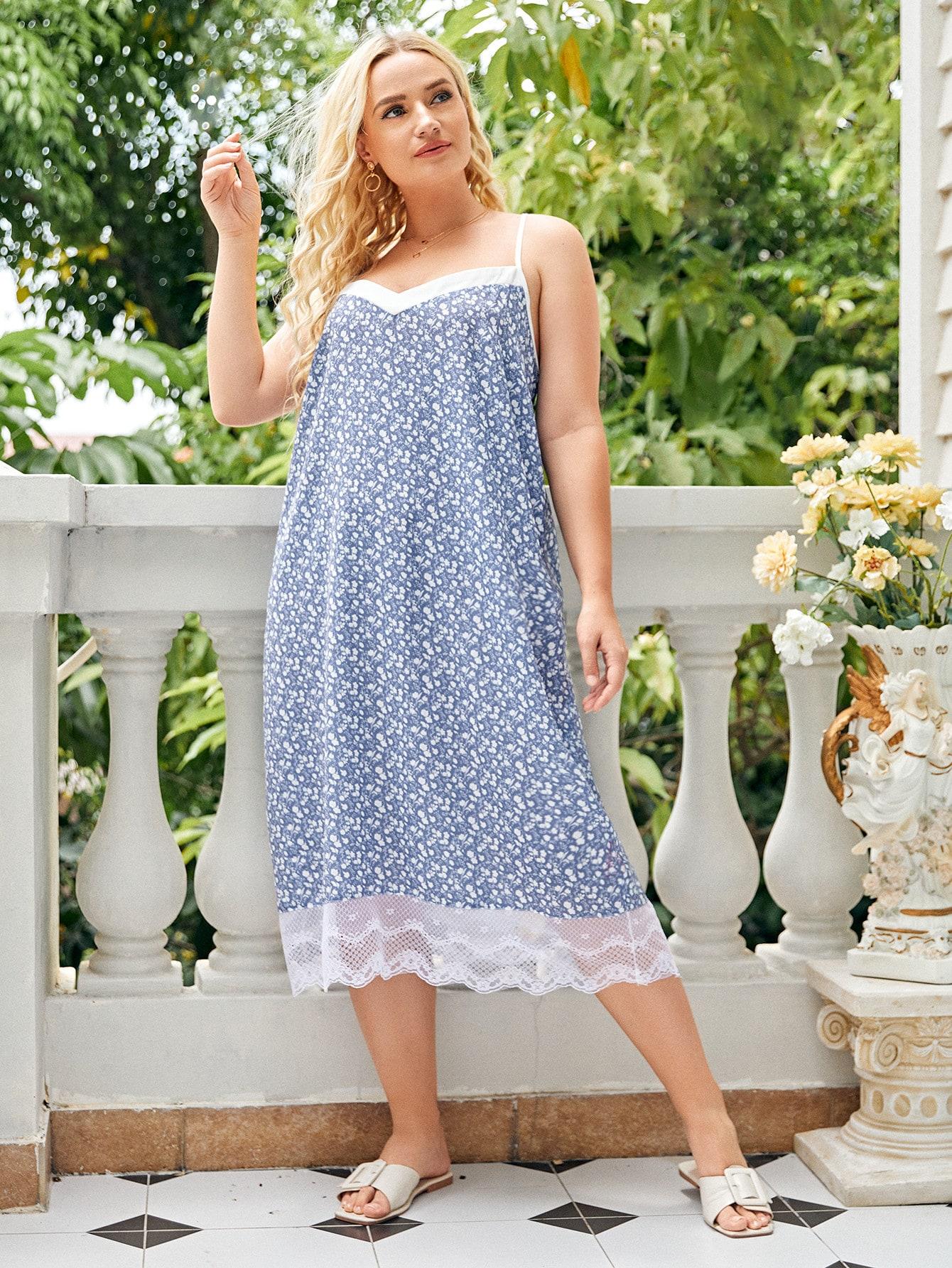 Plus Lace Trim Ditsy Floral Slip Nightdress