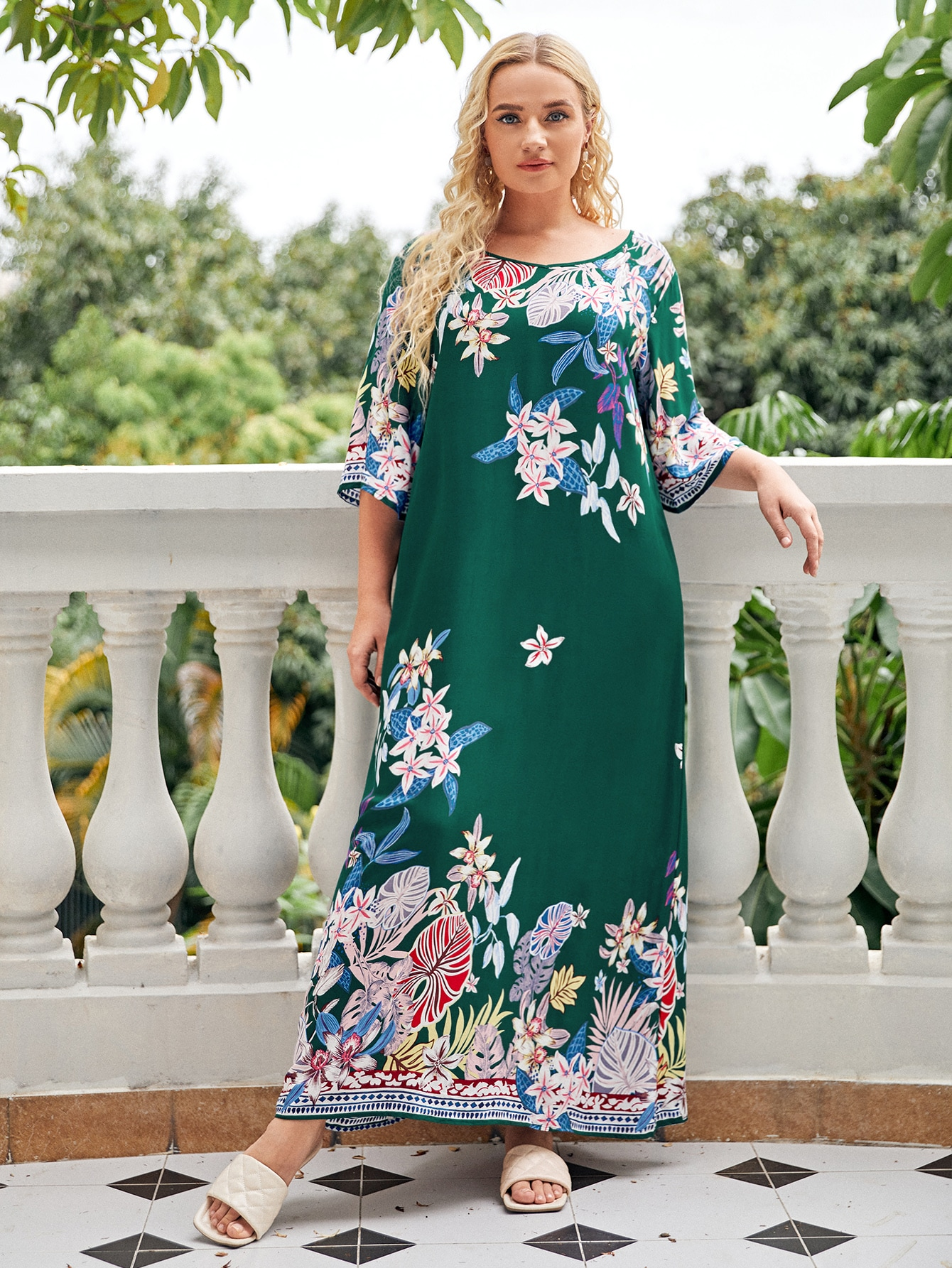 Plus Floral Print V Neck Night Dress