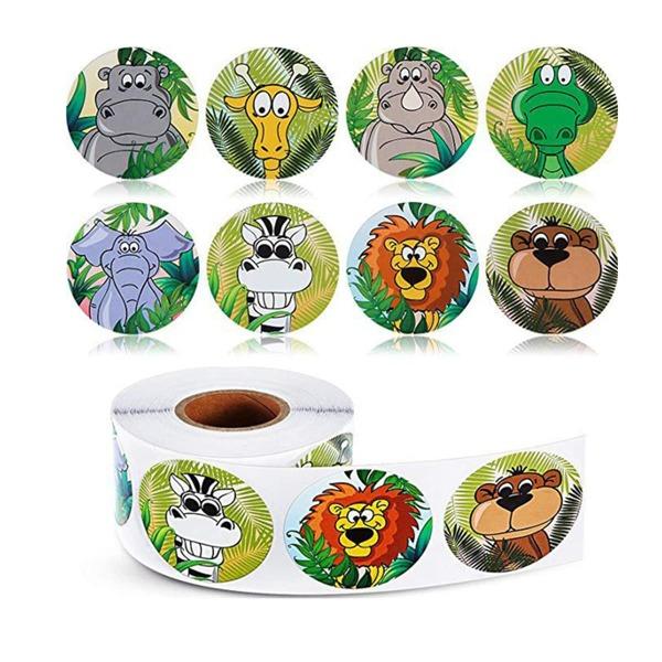 500pcs Cartoon Animal Print Sticker, Multicolor