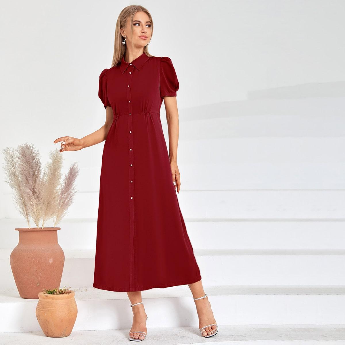 Атласное платье-рубашка с пышным рукавом SheIn swdress25210429293