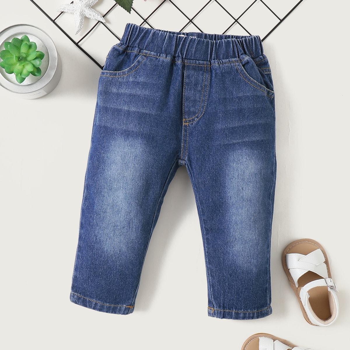 Детский Брюки сырой деним джинсовый от SHEIN