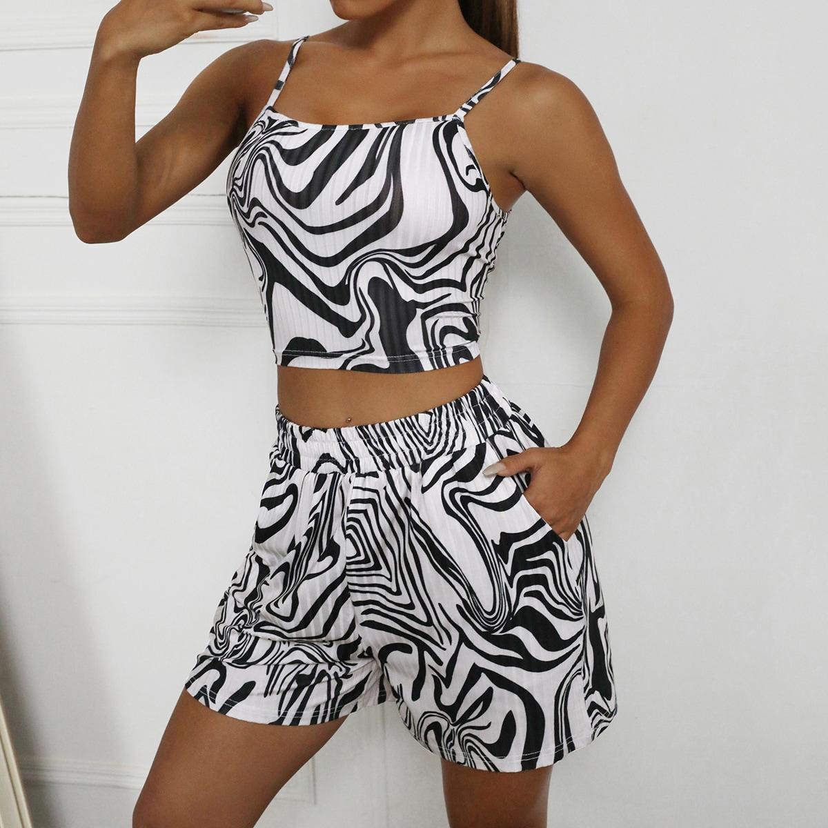 Zebra Striped Crop Cami & Shorts Set