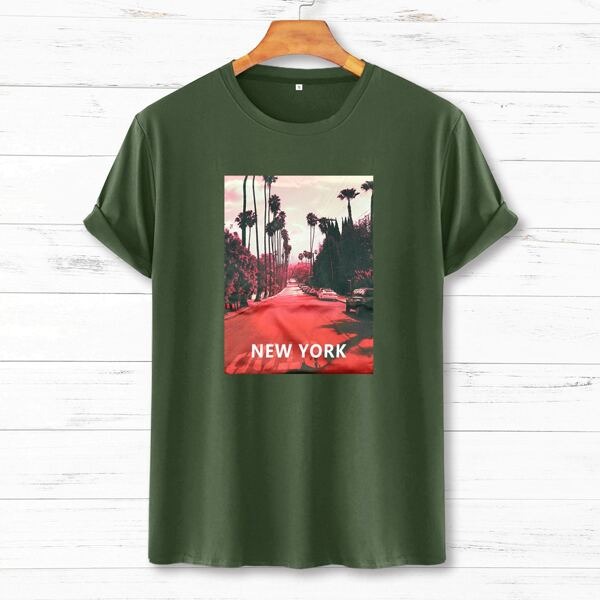 Men Letter & Street View Print Tee, Army green