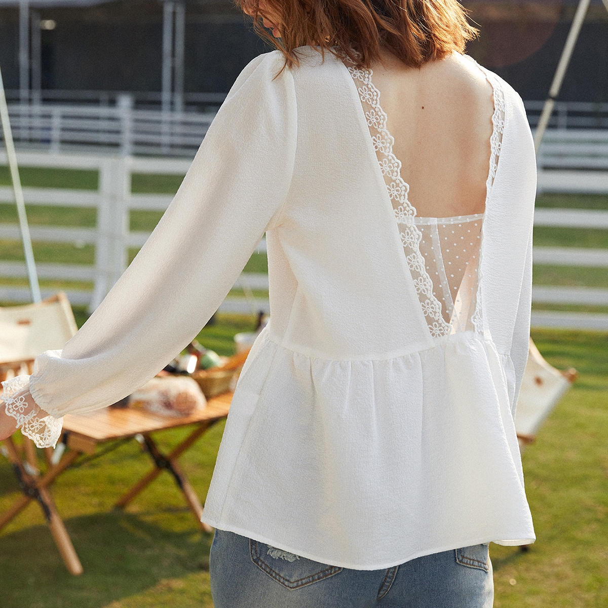 Однотонная блуза с кружевом SheIn swblouse25210325478