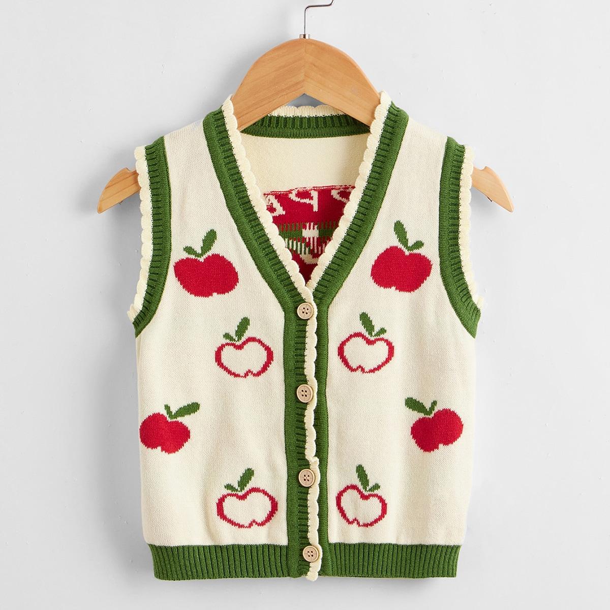 для девочек Кардиган яблоко с рисунком на пуговицах SheIn skouter25210511688