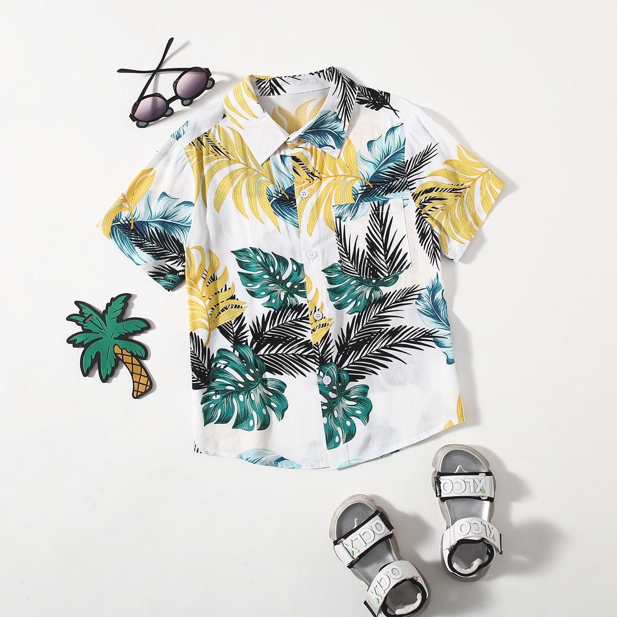 Пуговица Растения Бохо Рубашки для мальчиков