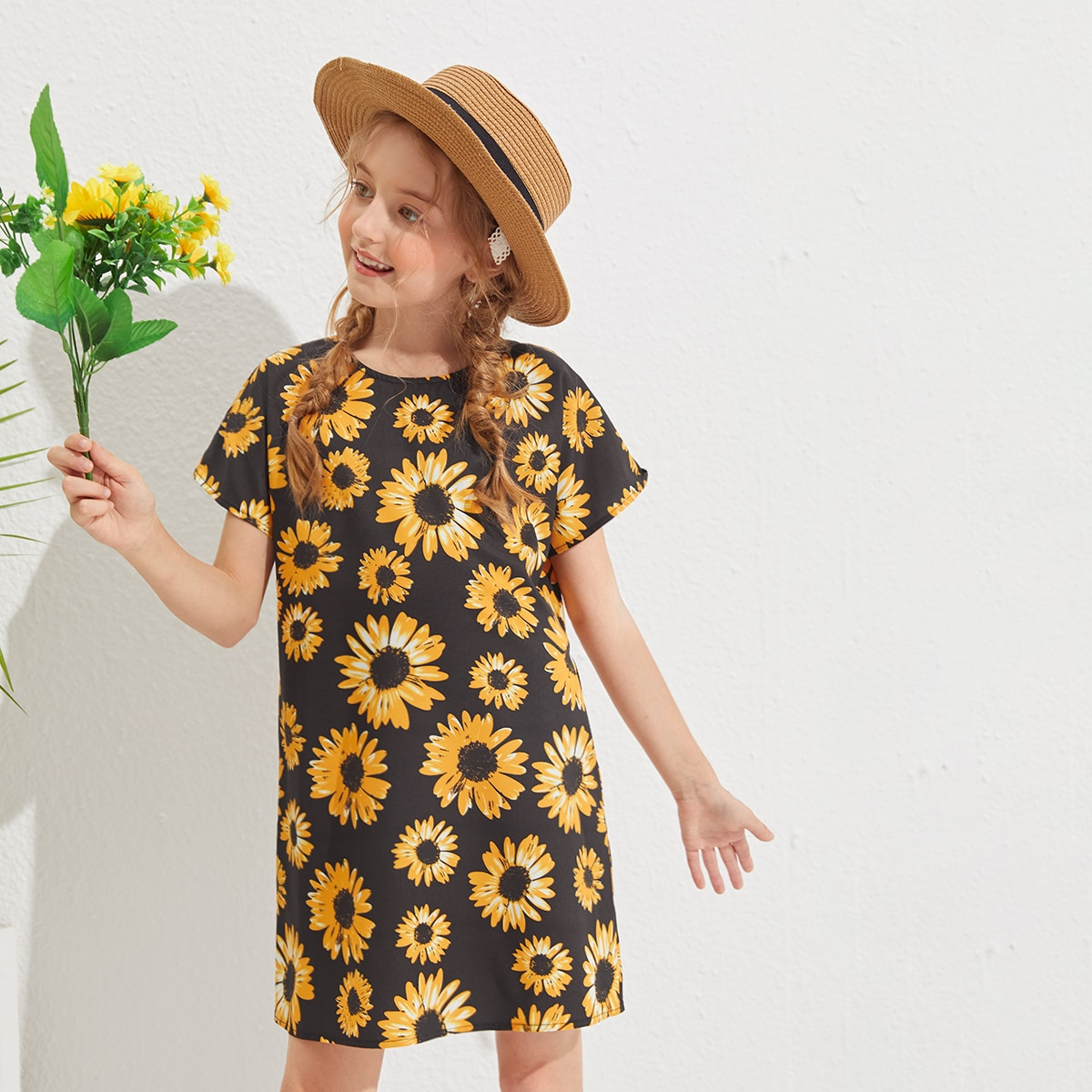 Girls Floral Print Tunic Dress, SHEIN  - buy with discount