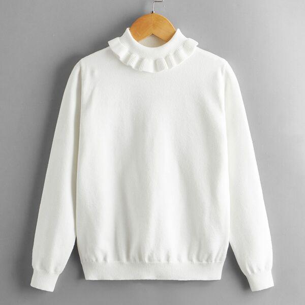Girls Turtleneck Solid Sweater, White