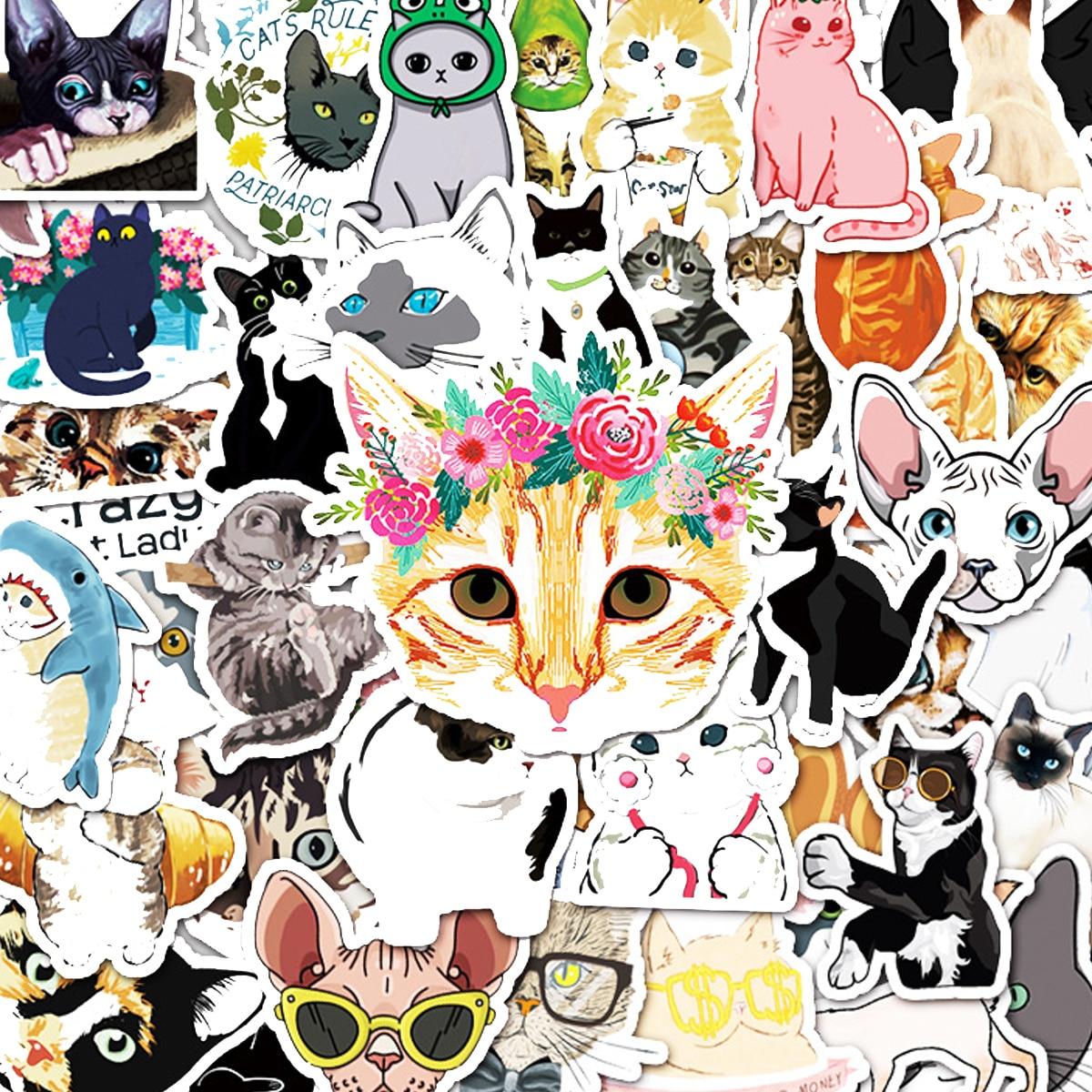 50pcs Cat Print Sticker