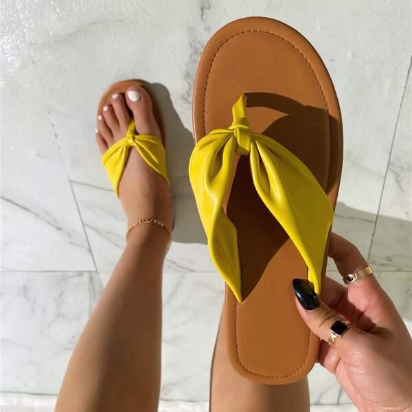 Toe Post Flat Thong Sandals, Yellow