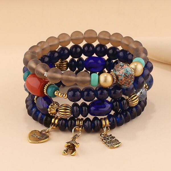 4pcs Heart Charm Beaded Bracelet, Royal blue