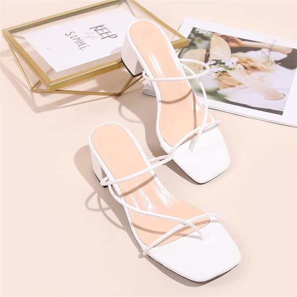 Thin Strap Chunky Heeled Thong Sandals, White