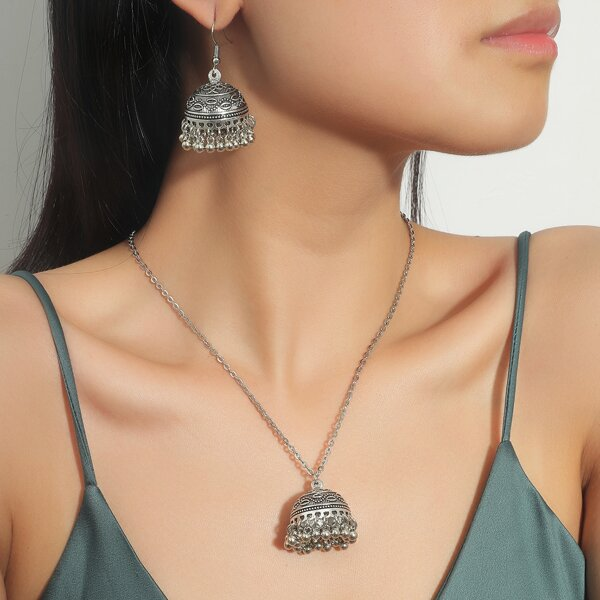 Jhumka Necklace & 1pair Drop Earrings, Antique silver