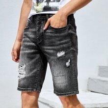 Guys Washed Ripped Denim Shorts