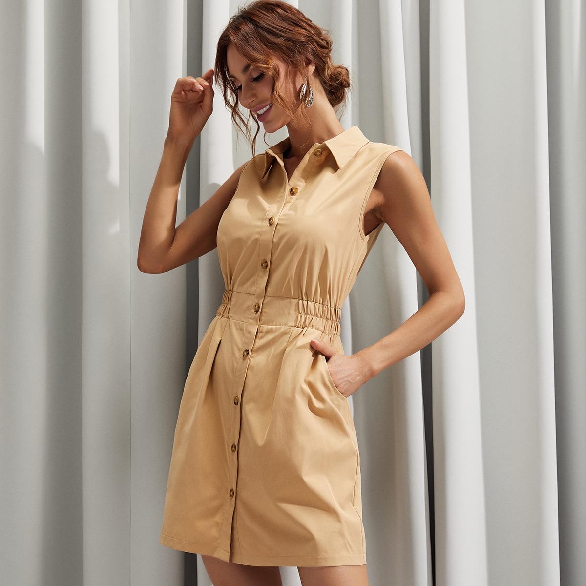 Sleeveless Shirt Dress, SHEIN  - buy with discount