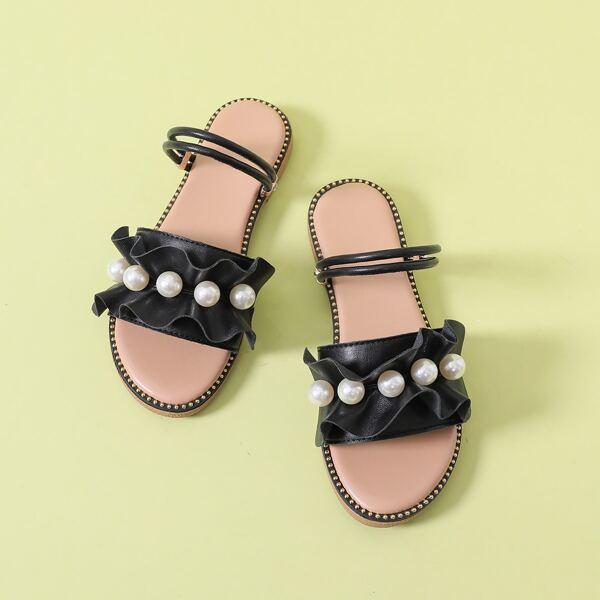 Faux Pearl Decor Ruffle Trim Slide Sandals, Black
