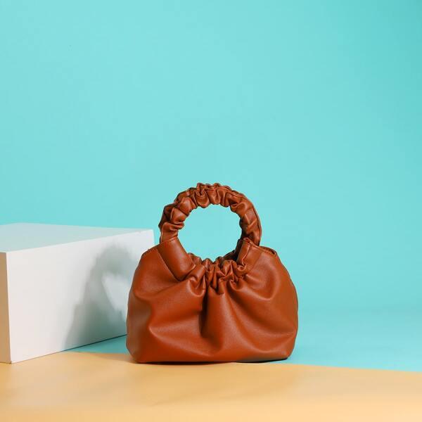 Minimalist Ruched Satchel Bag, Brown