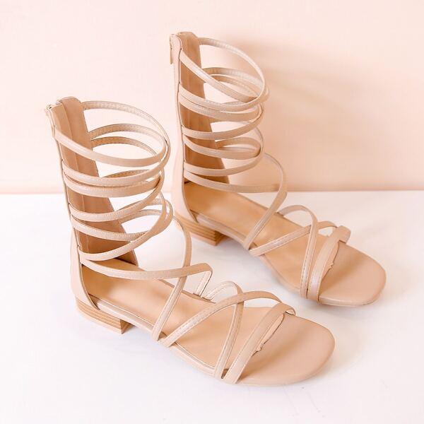 Minimalist Gladiator Sandals, Apricot