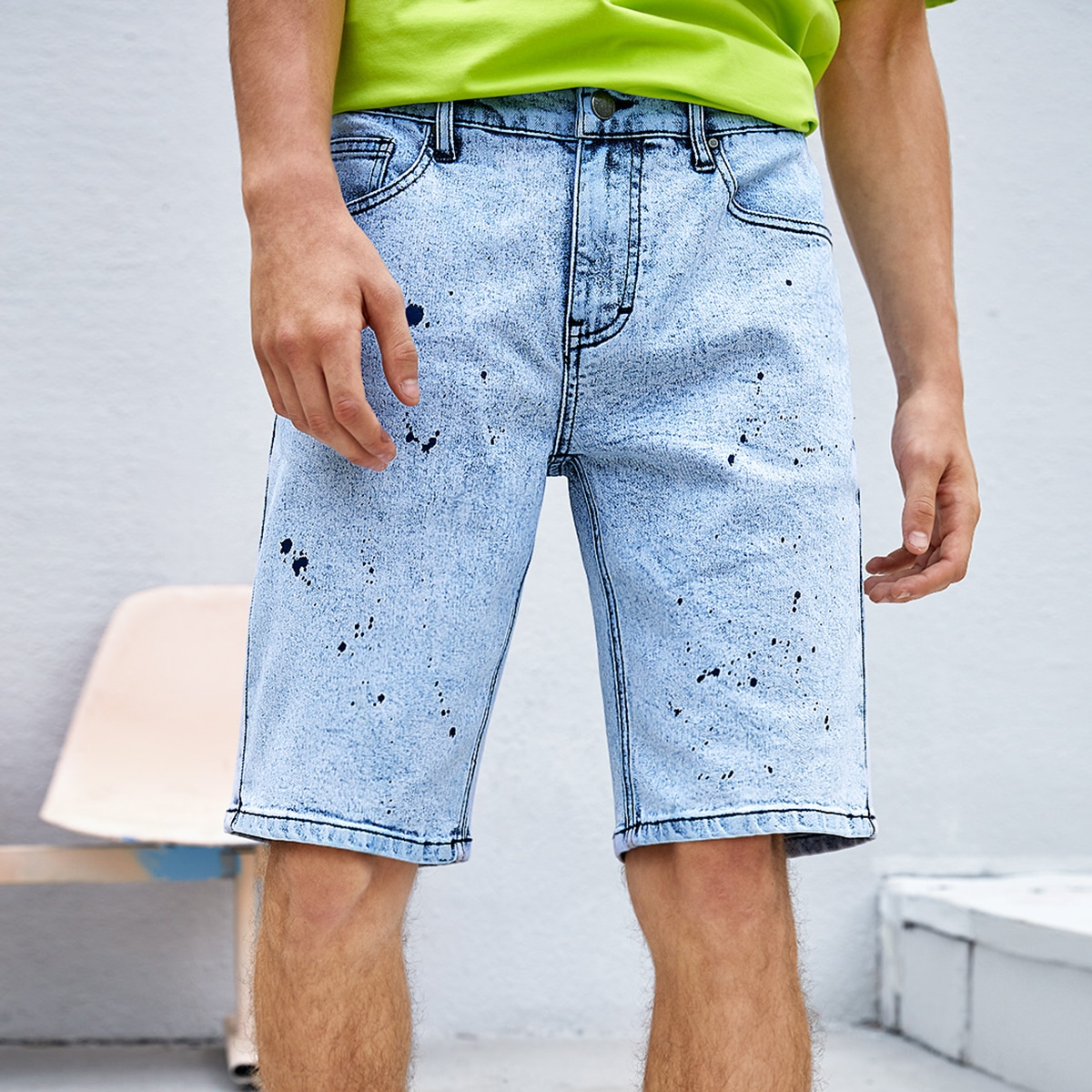 Мужской Шорты-бермуды с узором картины джинсовый от SHEIN