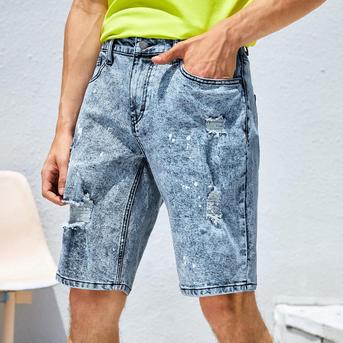 Мужской Шорты-бермуды рваный джинсовый от SHEIN