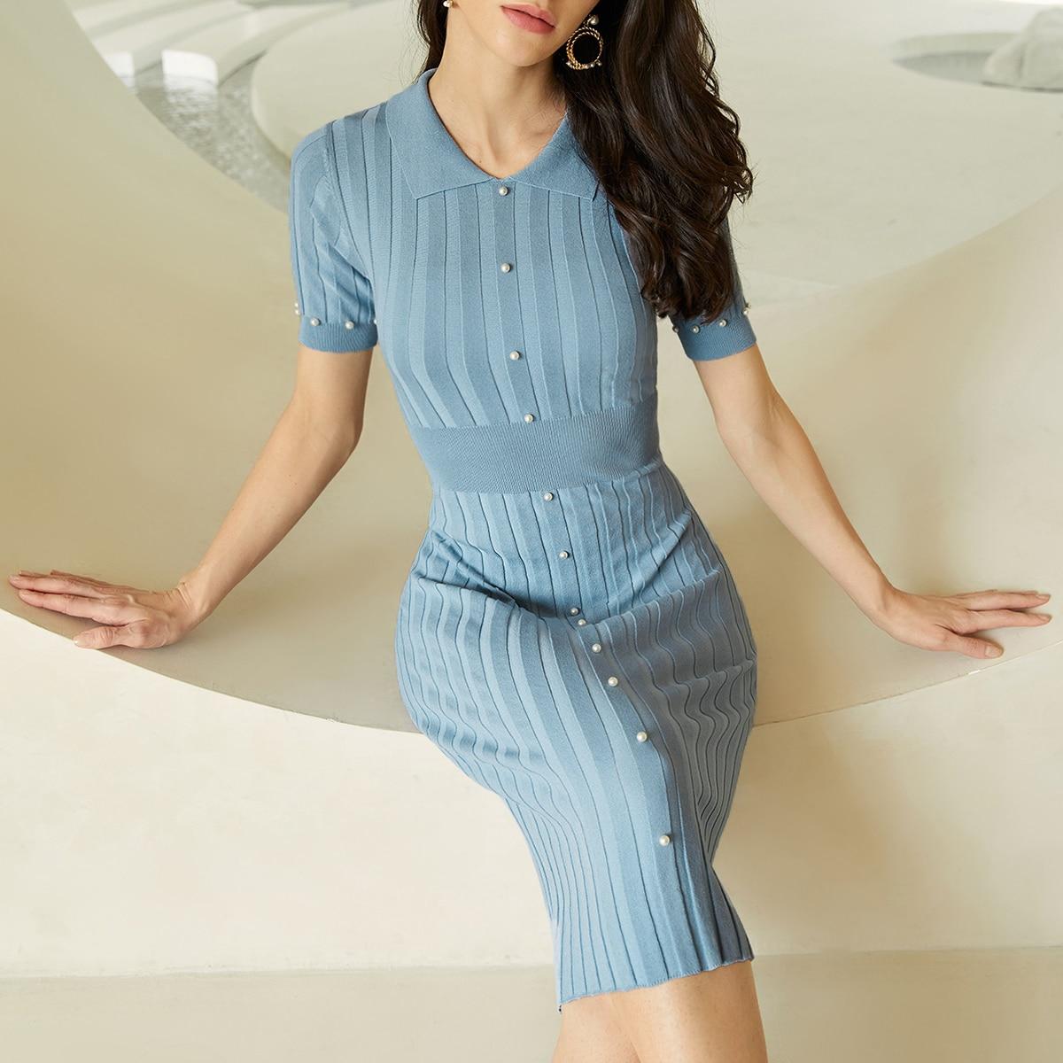 Платье из жемчугов вязаный SheIn swdress25210512090