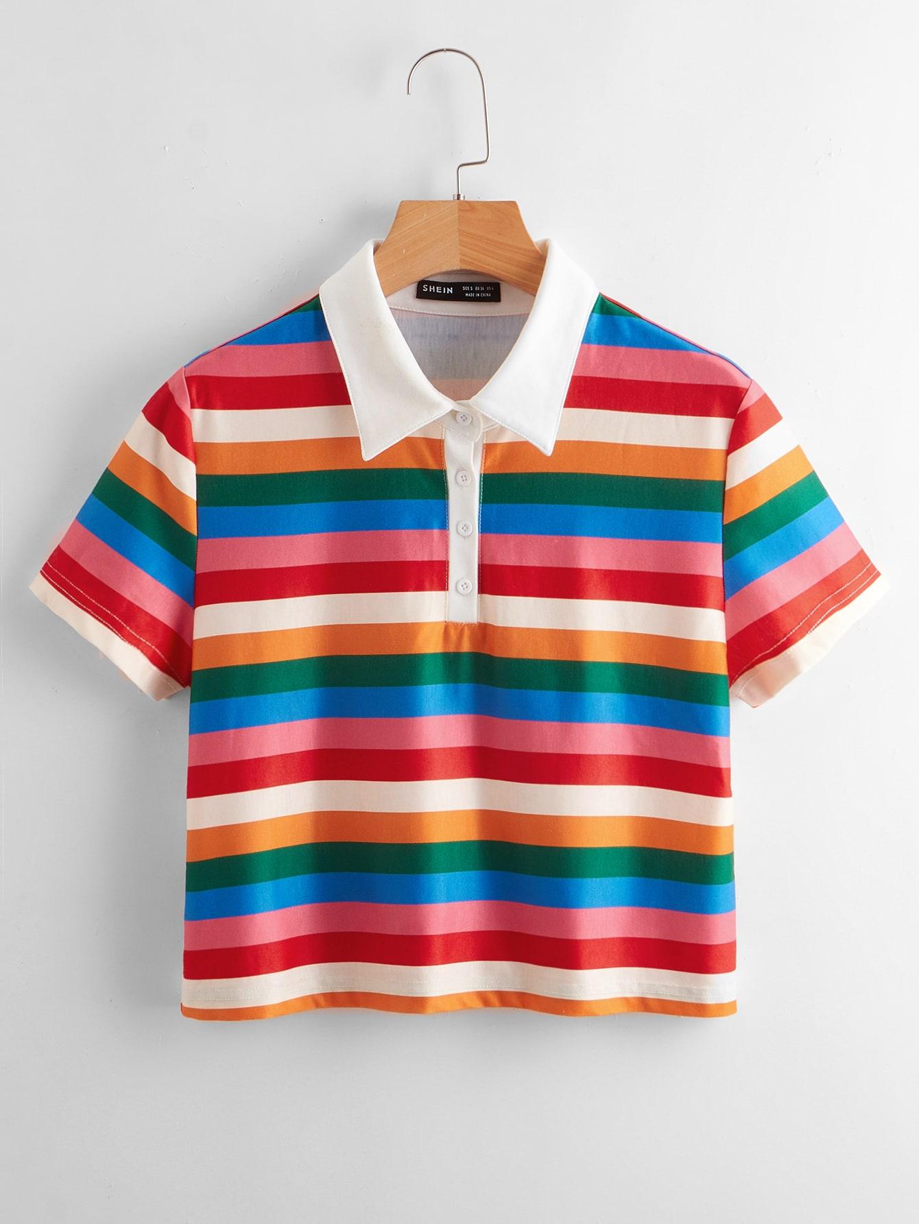 rainbow striped polo shirt