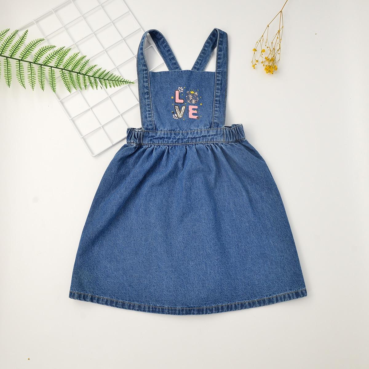 для девочек Джинсовое платье буква и с мультипликационным узором сарафан SheIn skdress25210422315