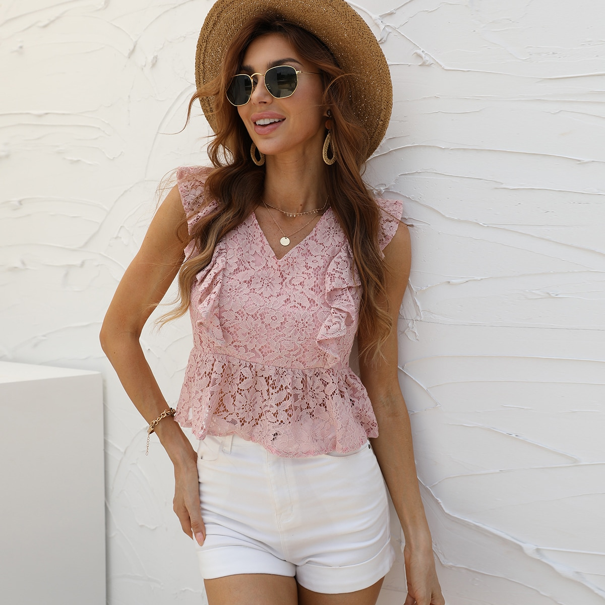 Блуза с оборкой кружевом SheIn swblouse23210407504