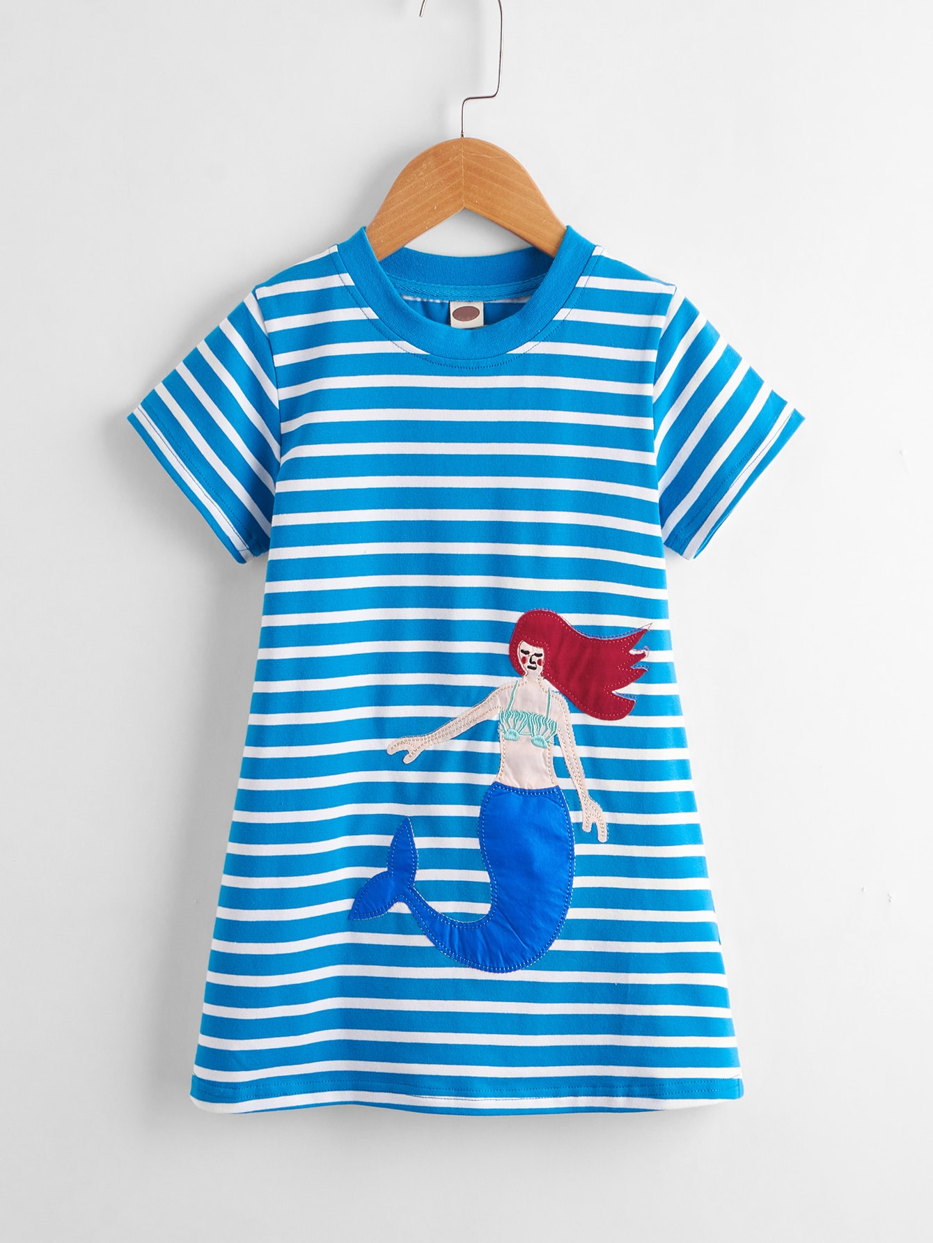 Toddler Girls Mermaid Patched Striped Dress