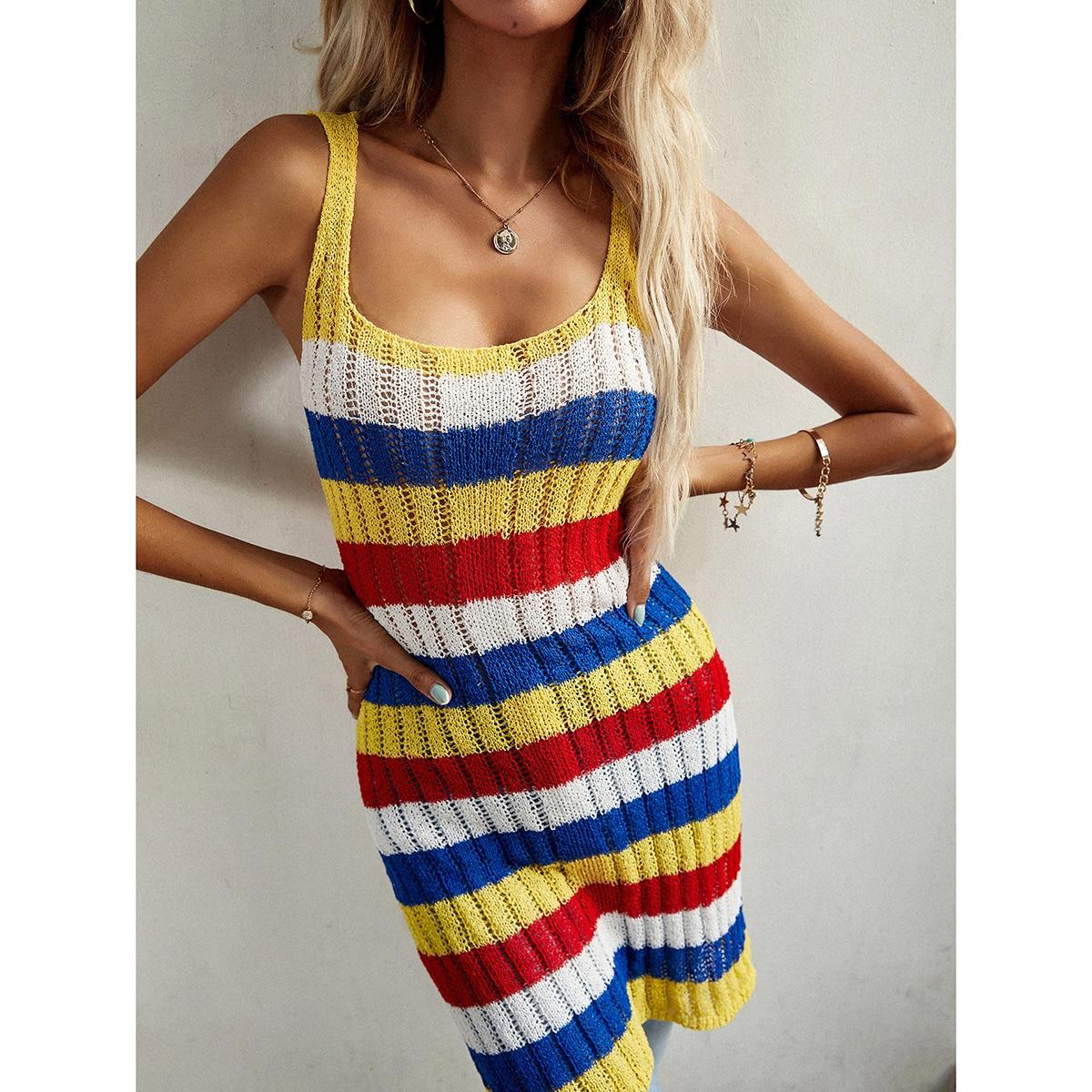 Платье в полоску вязаный SheIn swdress23210409669