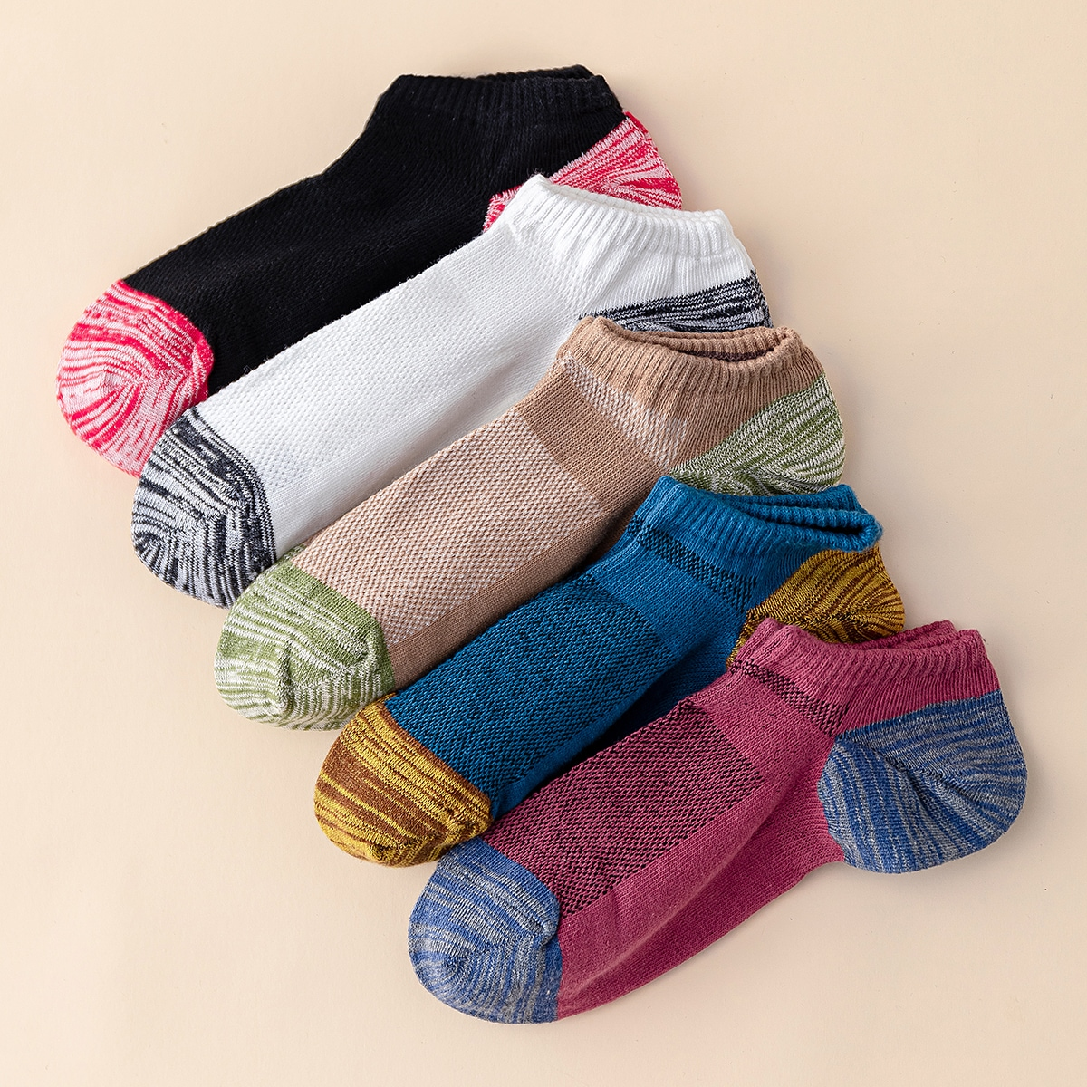 5pairs Colorblock Ankle Socks