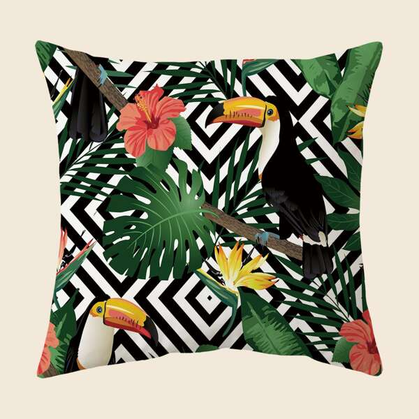 Tropical Print Cushion Cover Without Filler, Multicolor
