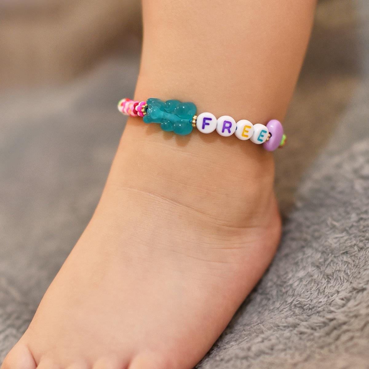 Toddler Girls Letter Bead Decor Anklet