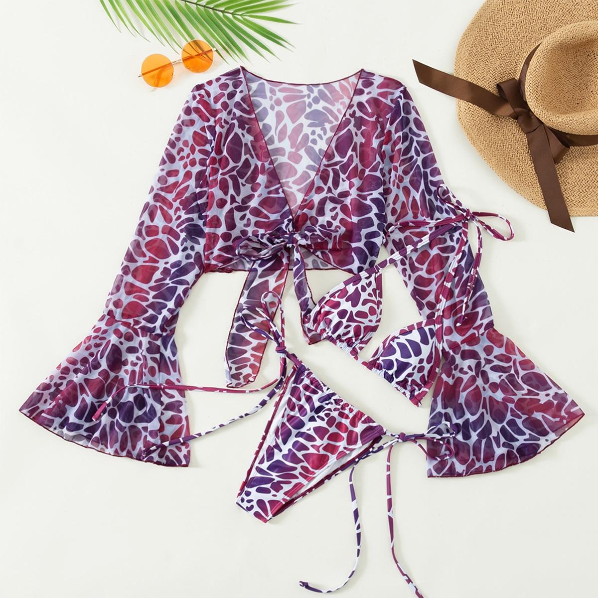 3pack Leopard Bikini Swimsuit & Cover Up