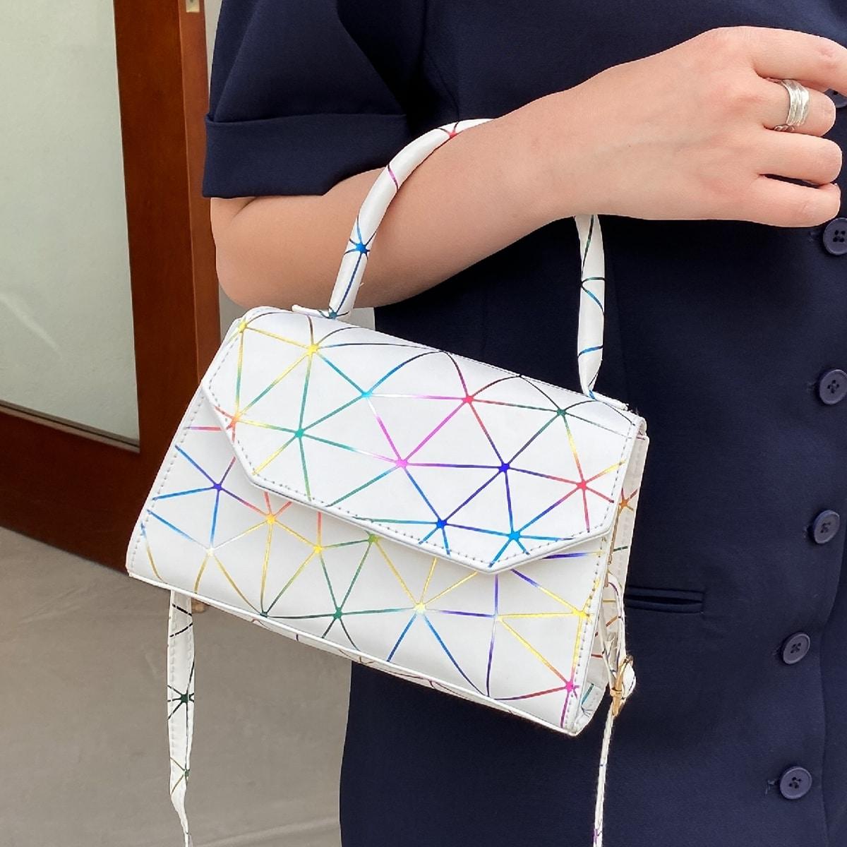 Geo Pattern Top Handle Satchel Bag