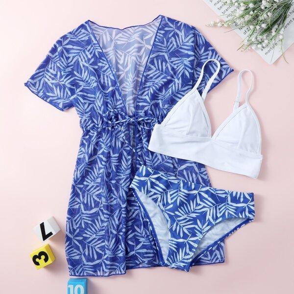 3pack Girls Plant Print Bikini Swimsuit & Kimono, Blue and white