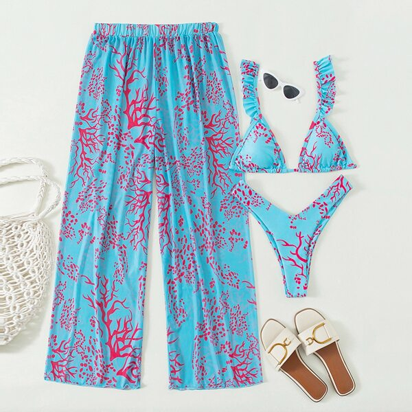 3pack Plants Random Print Ruffle Bikini Swimsuit & Cover Up Pants, Multicolor