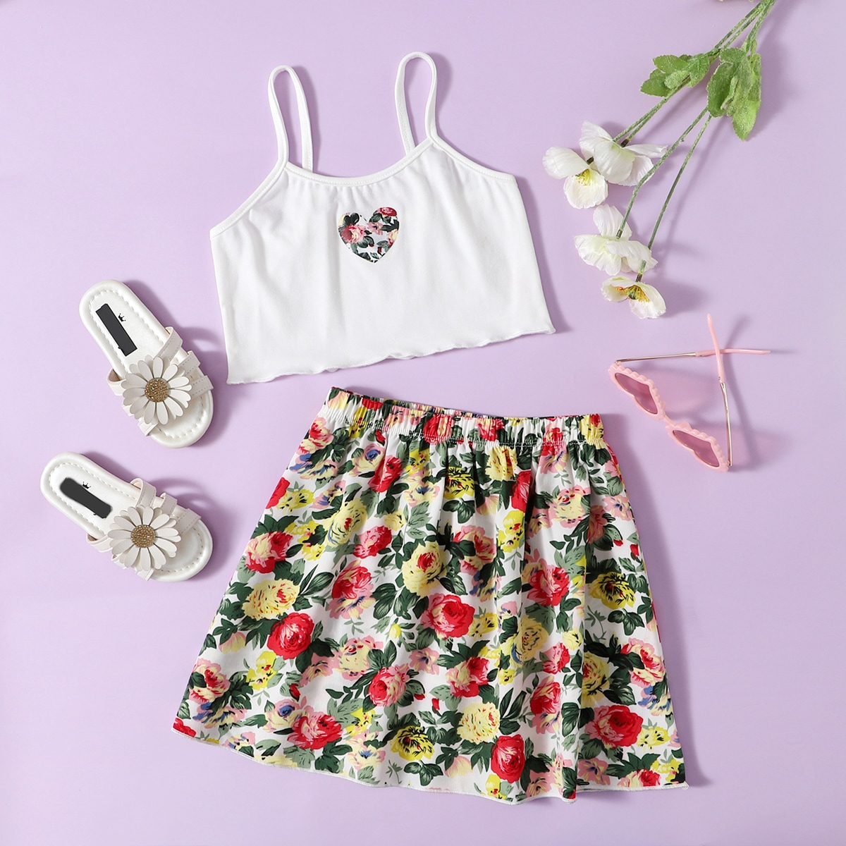 Toddler Girls Heart Print Cami Top & Floral Skirt, SHEIN  - buy with discount