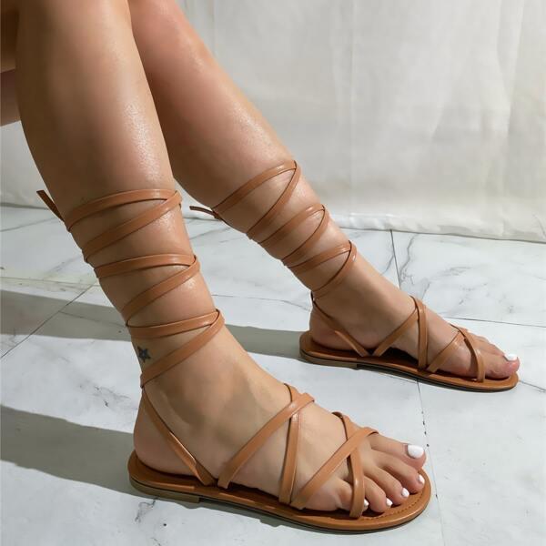 Minimalist Tie Leg Gladiator Sandals, Apricot