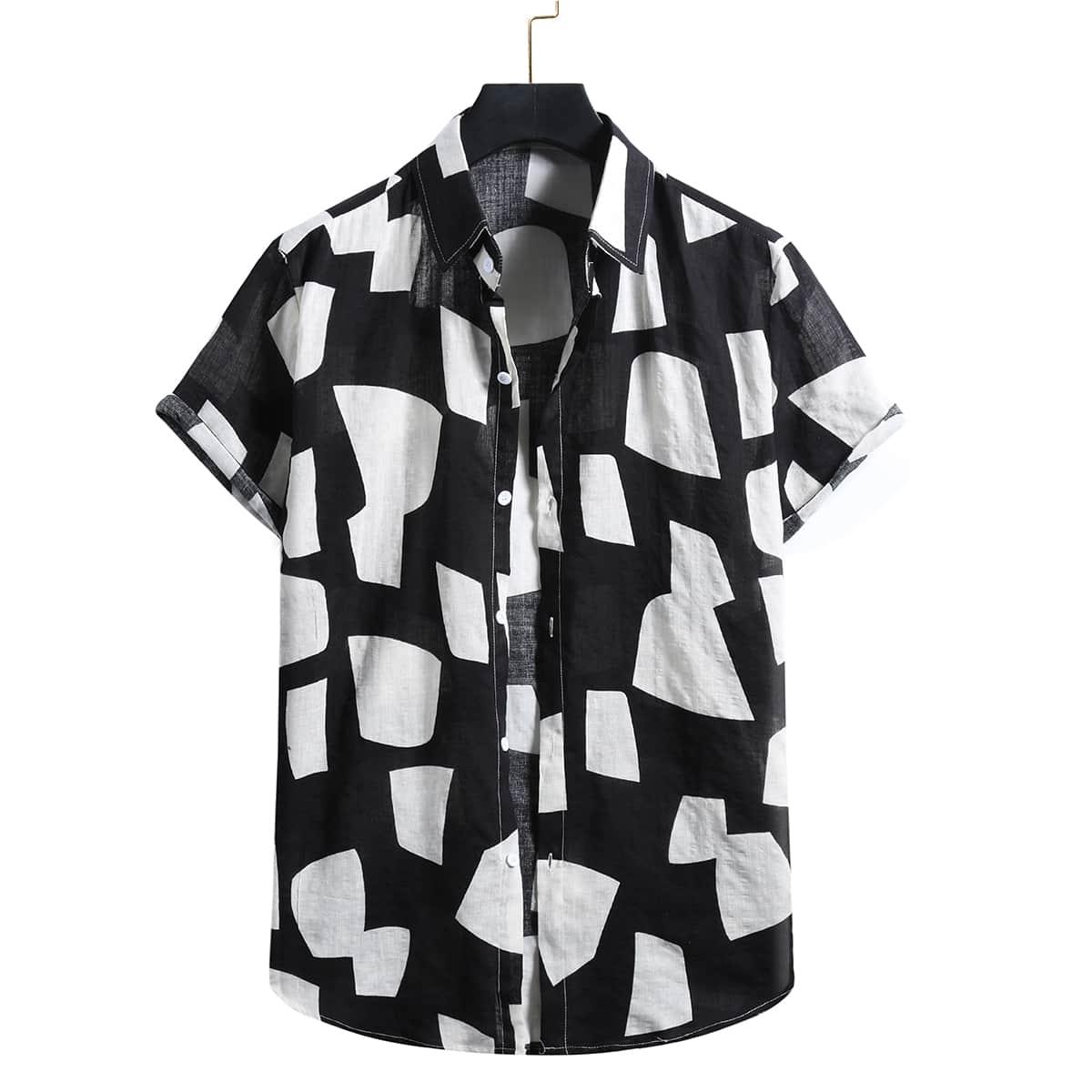 Пуговица Принт Повседневный Мужские рубашки SheIn rmshirt25210513196
