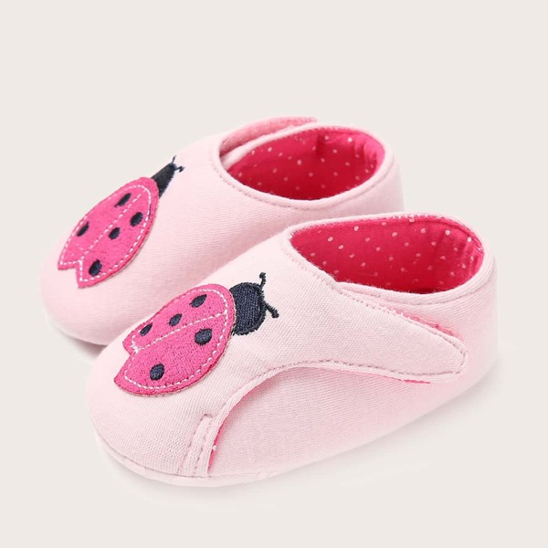 Baby Girl Cartoon Appliques Velcro Strap Flats, Pink