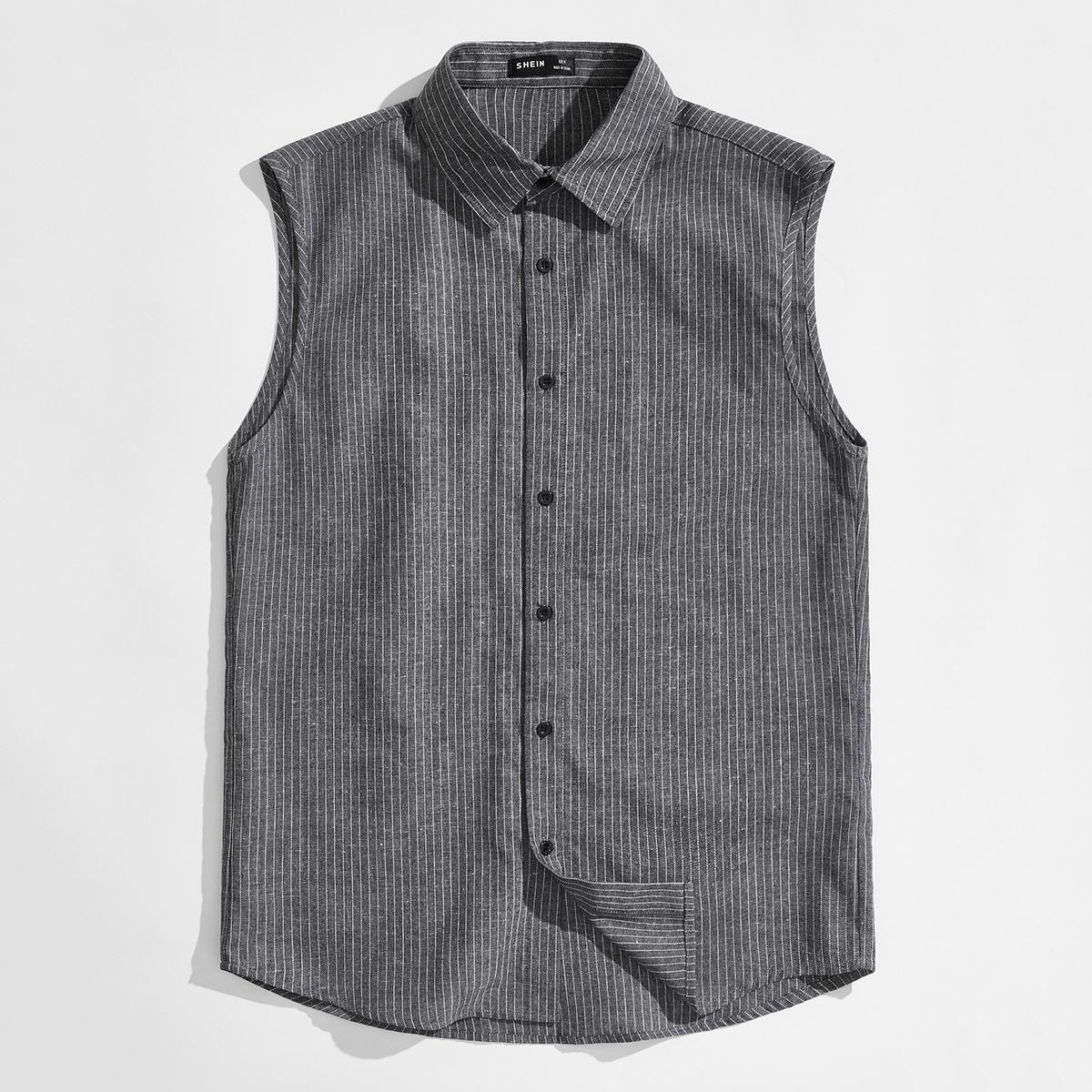 Мужской Рубашка однобортный в полоску без рукавов