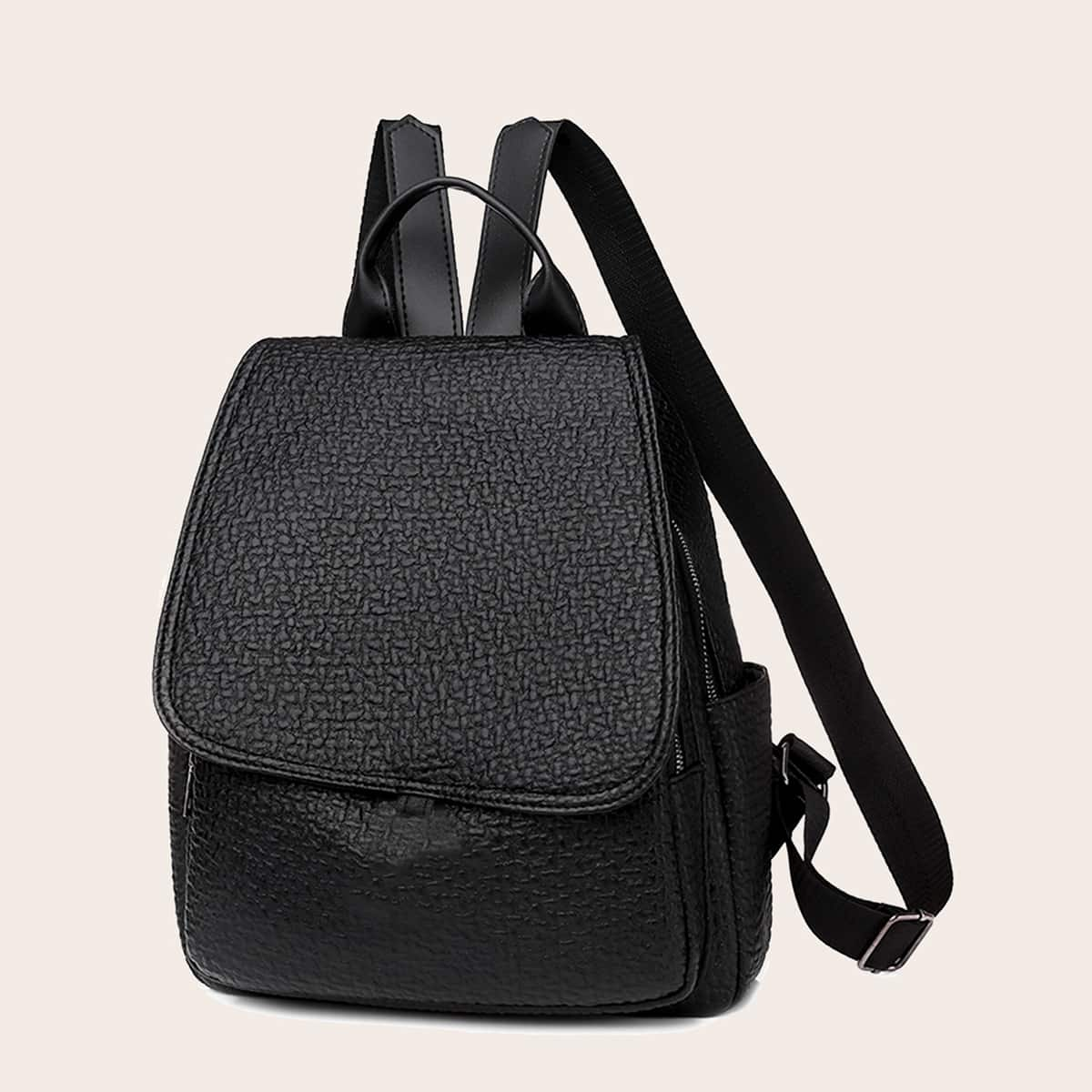 Textured Flap Backpack