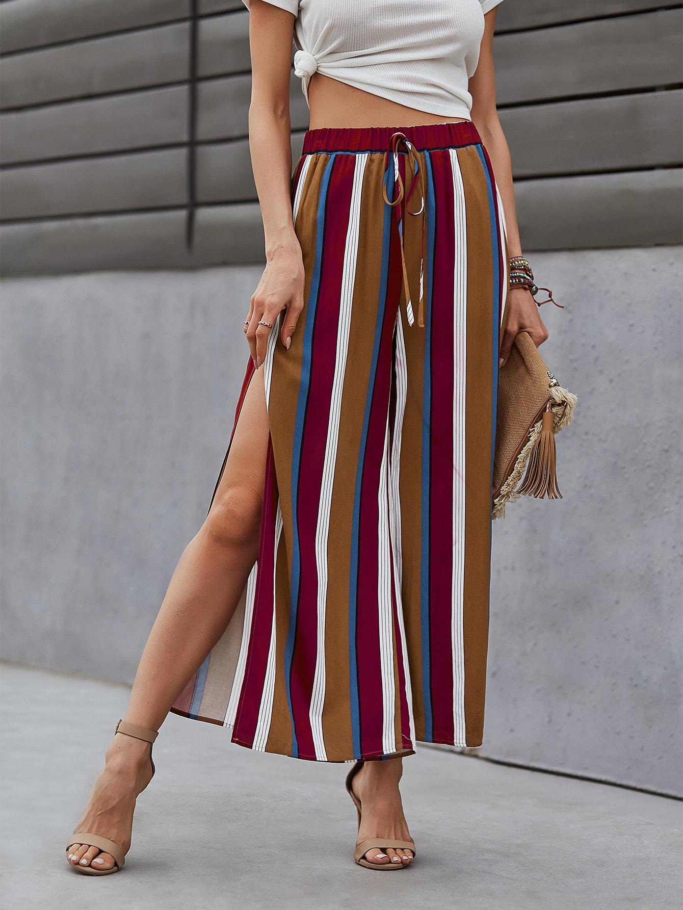 striped split side wide leg pants