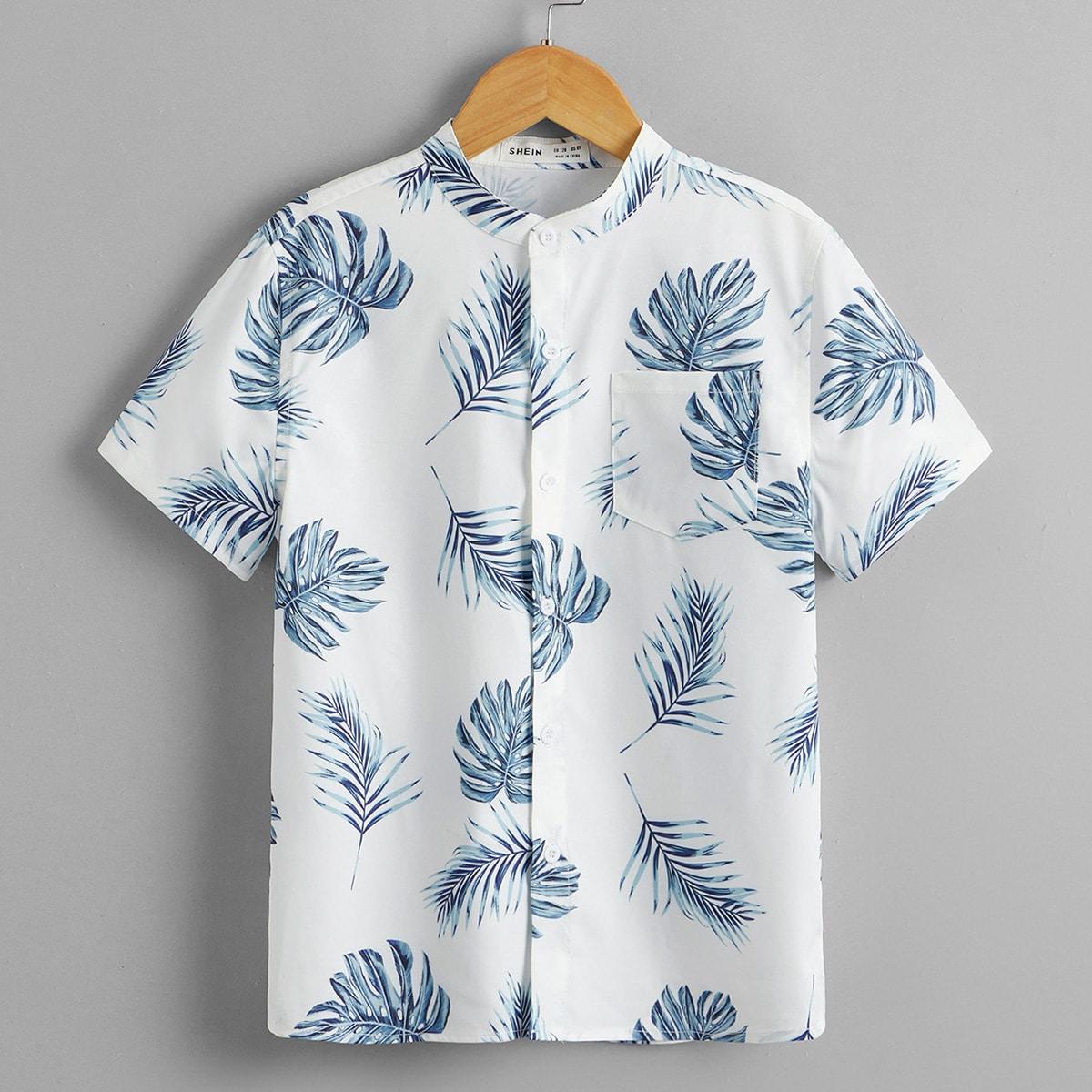 для мальчиков Рубашка с тропическим принтом с карманом