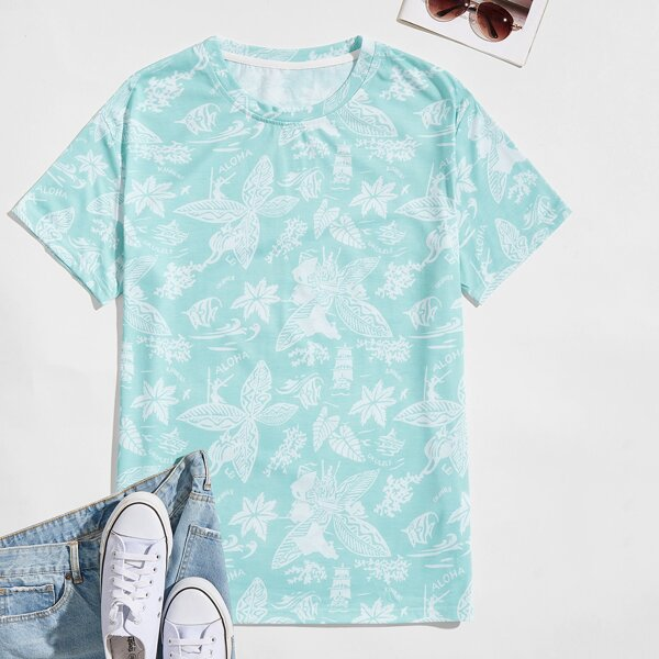 Men Leaves Print Short Sleeve Tee, Mint green