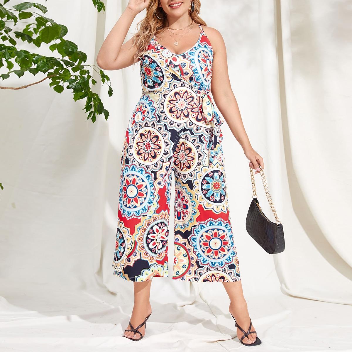 Plus Allover Floral Print Wrap Cami Jumpsuit